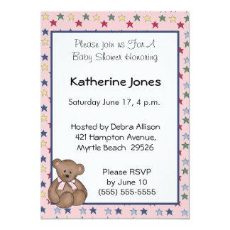 Girls Bear and Stars 13 Cm X 18 Cm Invitation Card