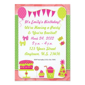 "Girls Birthday Invitation 4.5"" X 6.25"" Invitation Card"