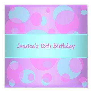 Girls Birthday Metallic Blue Purple Pink Circles Card