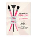 Girl's Birthday Party Invitation - Art Theme Pink