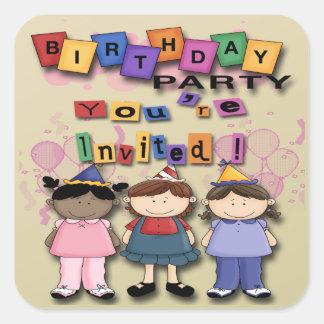 Girl's Birthday Party Invitation envelope seal Square Sticker