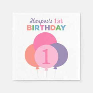 Girl's Birthday Party Napkins | Pink Balloons Disposable Napkin