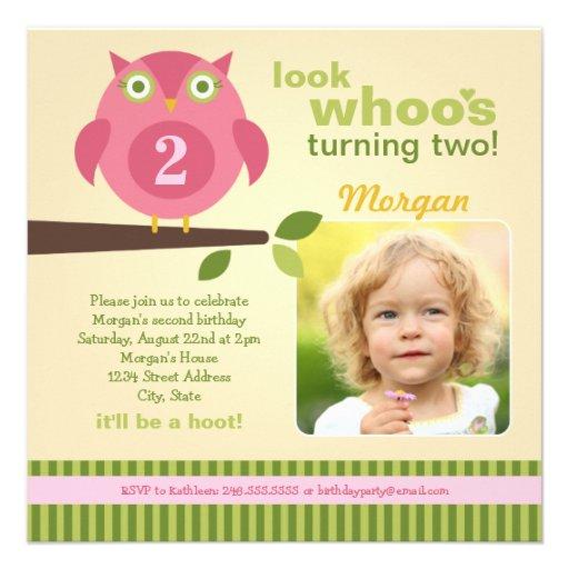 Girl's Birthday Party Photo Invitation   Owl Theme