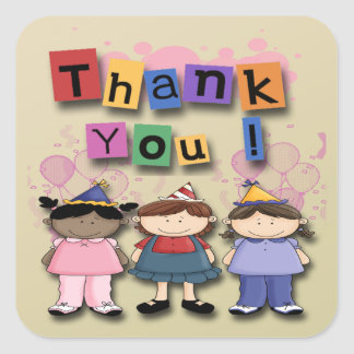 Girl's Birthday Party Thank You envelope seal Square Sticker