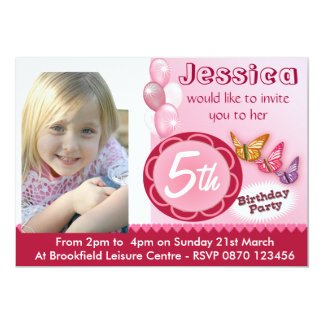 Girls Birthday Photo Invitation Balloons - Any Age