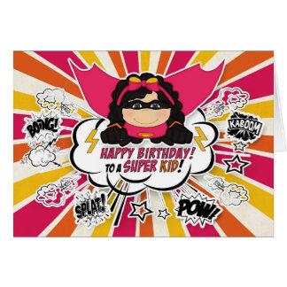 Girls Birthday Super Kid Pink Comic Book Theme Card