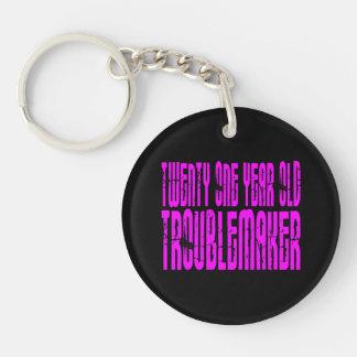 Girls Birthday : Twenty One Year Old Troublemaker Single-Sided Round Acrylic Key Ring