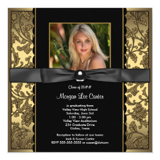 Girls Black and Gold Photo Graduation 13 Cm X 13 Cm Square Invitation Card