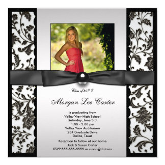 Girls Black and White Photo Graduation 13 Cm X 13 Cm Square Invitation Card