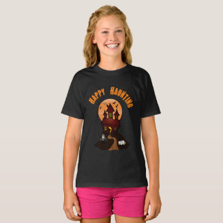Girl's Black Happy Haunting Halloween Tshirt