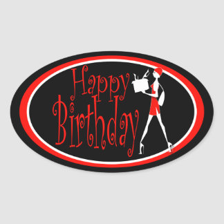 Girls black red birthday shopping oval stickers