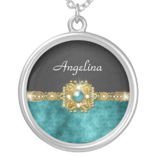 Girls bling gems | Personalized name Silver Plated Necklace