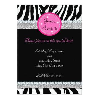 Girls Bling Sparkle Zebra Print Party Invitation
