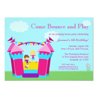 Girl's bounce house birthday party invitation