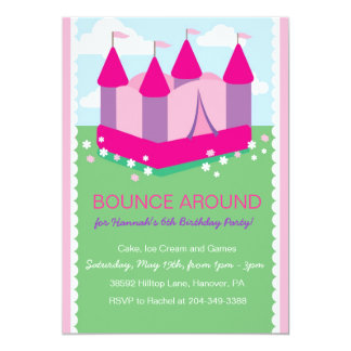 Girls Bounce House Birthday Party Invitations