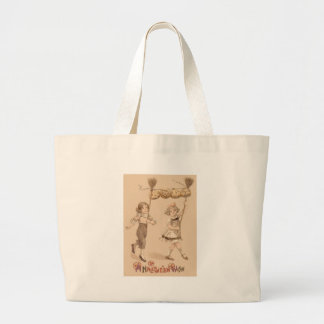 Girls Broom Jack O' Lantern Pumpkin Jumbo Tote Bag