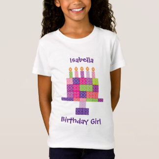 Girl's Building Bricks Blocks Birthday Cake T-Shirt