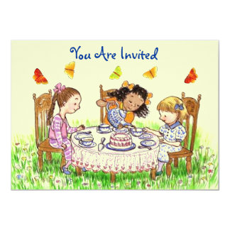 "Girls & Butterflies Party Tea Invitation Cute 4.5"" X 6.25"" Invitation Card"
