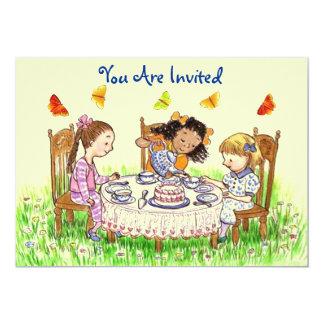 "Girls & Butterflies Tea Invitation ~ EZ to Alter 5"" X 7"" Invitation Card"