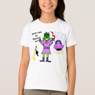 Girls Can Be Captain Too Robot Girl Pink Spaceship T-Shirt