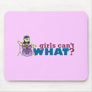 Girls Can t WHAT Girl Drummer Logo Mousepad