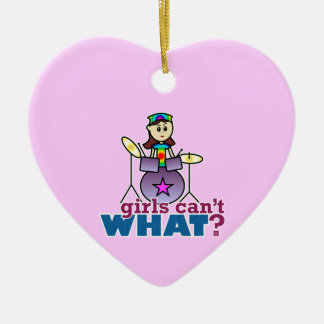 Girls Can't WHAT? Drummer Ceramic Heart Decoration