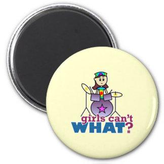 Girls Can't WHAT? Drummer Girl Logo Fridge Magnets