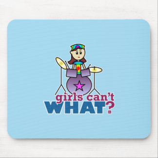 Girls Can't WHAT? Drummer Girl Logo Mouse Pads