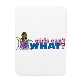 Girls Can't WHAT? Girl on Drums Vinyl Magnets
