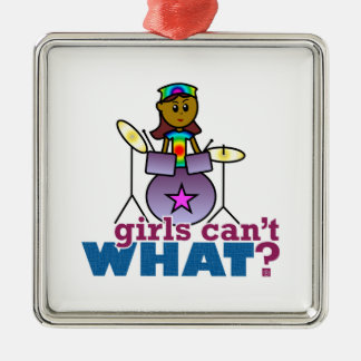 Girls Can't WHAT? Girl Playing Drums Silver-Colored Square Decoration