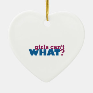 Girls Can't WHAT? Logo Ceramic Heart Decoration