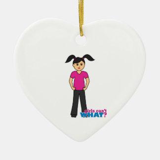 Girls Can't What - Medium Ceramic Heart Decoration