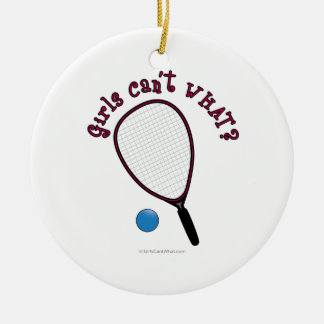 Girls Can't WHAT? Raquetball Double-Sided Ceramic Round Christmas Ornament