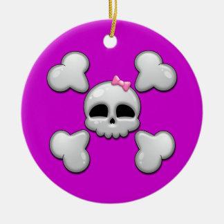 Girls Cartoon Skull Ceramic Ornament