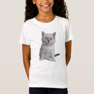 Girls Cat with Glasses Shirt