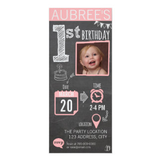 Girl's Chalkboard 1st Birthday Invitation