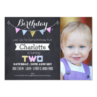 Girls Chalkboard 2nd Birthday Party Invitation