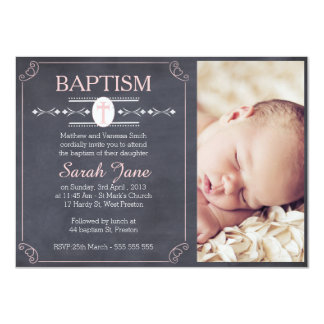 Girl's Chalkboard Photo Baptism Invitation