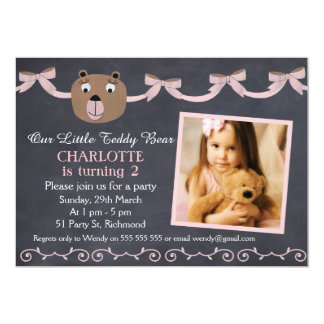 Girls Chalkboard Teddy Bear Birthday Invitation
