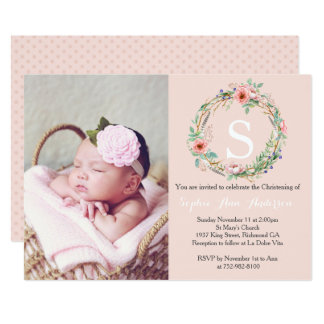 Girls Christening Invitation - Pink Wreath
