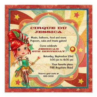 Girls Circus Birthday 13 Cm X 13 Cm Square Invitation Card