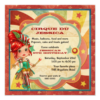 Girls Circus Birthday Card