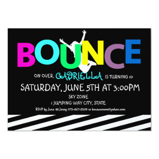 Girls Colorful Trampoline Bounce Party Invitation
