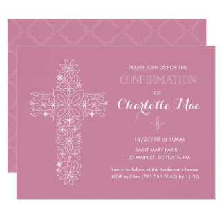 Girl's Confirmation Religious Invitation Card
