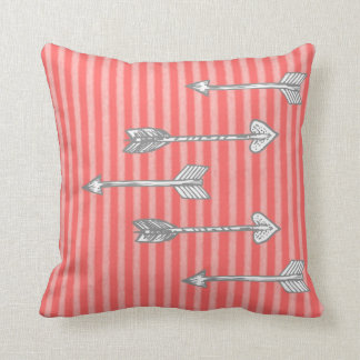 Girl's Coral Stripe Arrow Decorative Pillow