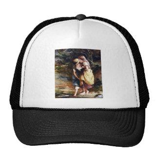 Girls Crossing stream painting Mesh Hats
