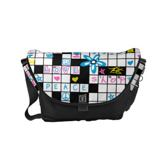 Girl's crossword puzzle courier bag