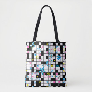 Girl's crossword puzzle tote bag