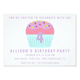 Girls Cupcake Four 4th Birthday Party Invite