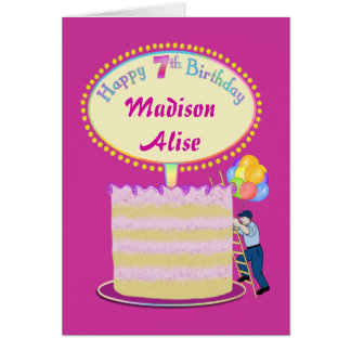 Girls Cute 7th Birthday - Personalize It Greeting Card